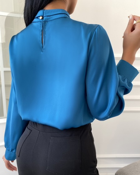 Plain Mock Neck Long Sleeve Blouse