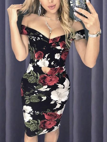 Off Shoulder Cutout Front Floral Dress