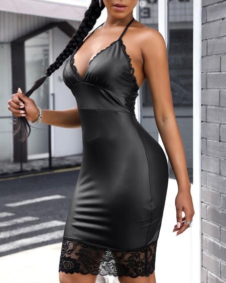 Lace Trim Plunge Spaghetti Strap Midi Dress