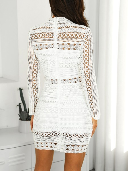 Elegant Crochet Lace Hollow Out Sheath Dress