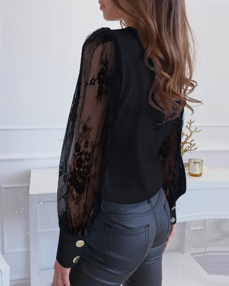 Lace Mesh Sleeve Casual Blouse
