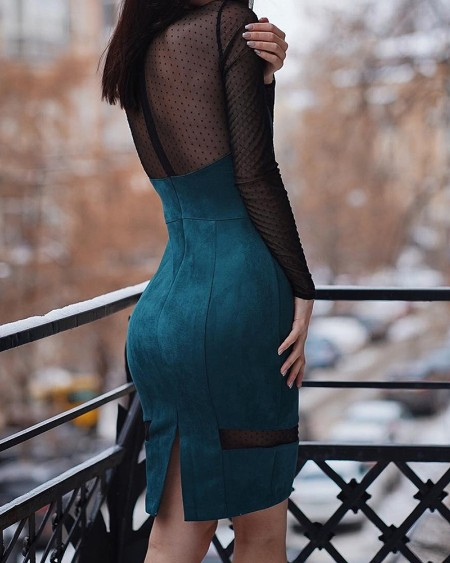 Long Sleeve Dot Mesh Insert Bodycon Dress