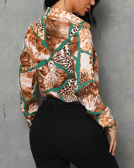 Leopard Print Insert Casual Shirt