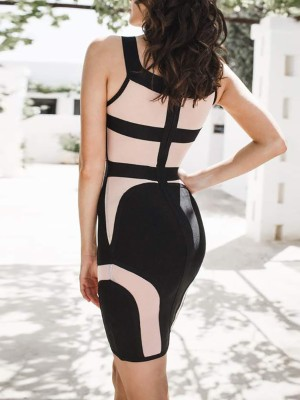 Colorblock V-Neck Sleeveless Bandage Dress
