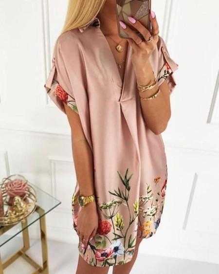 Floral Print Short Sleeve Satin Dress