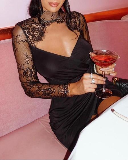 Mesh Lace Cut Out Dress