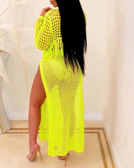Hollow Out Tassel Top & Slit Skirt Set
