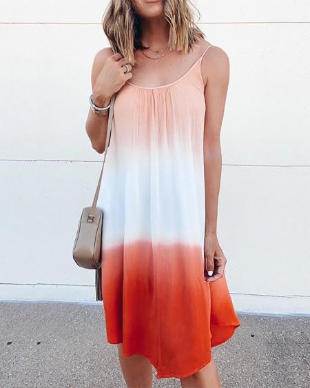 boutiquefeel / Tie Dye Print Gradient Color Casual Dress