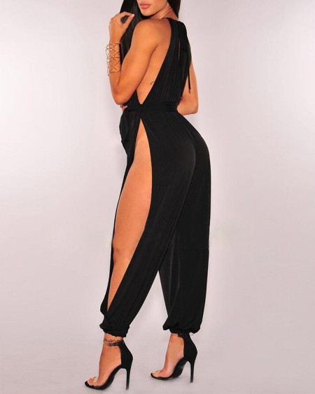 Solid Sleeveless Ruched Slit Jumpsuit