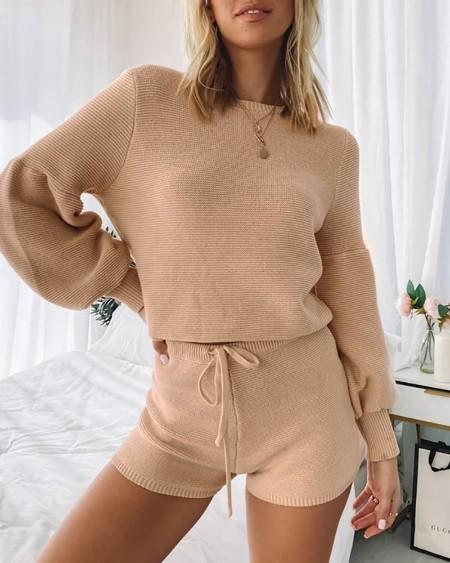 Knitted Lantern Sleeve Top & Drawstring Shorts Set