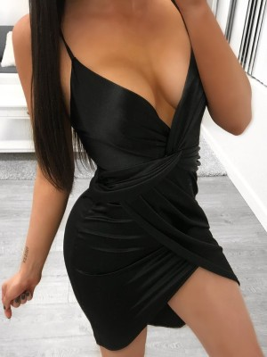 Deep V Twisted Bodycon Slip Dress
