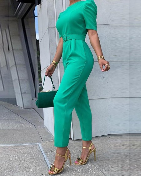 Solid Puffed Short Sleeve Jumpsuit