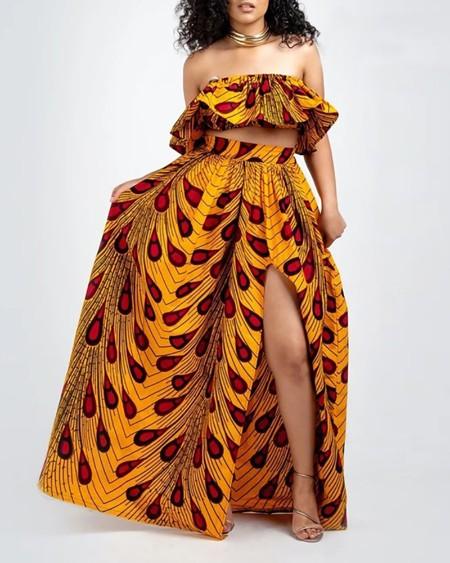 boutiquefeel / Leaf Print High Slit Maxi Skirt