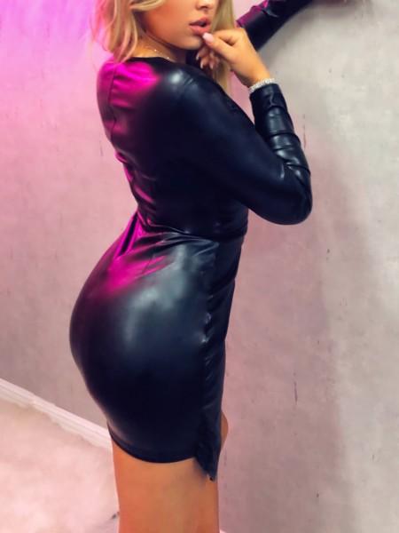Deep V-Neck Wrap PU Dress