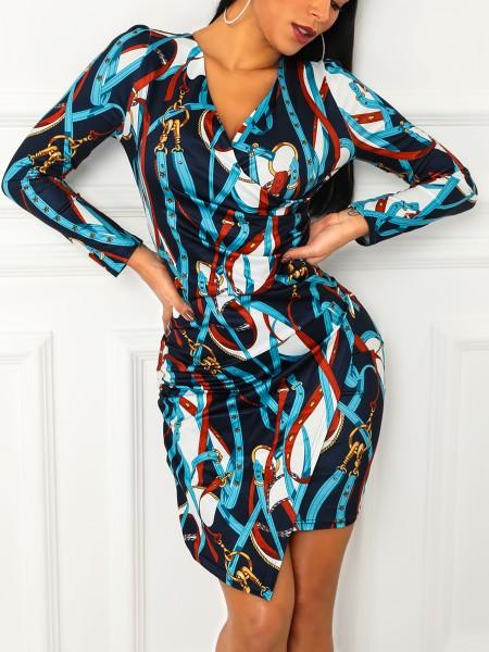 Chain Print Surplice Wrap Bodycon Dress