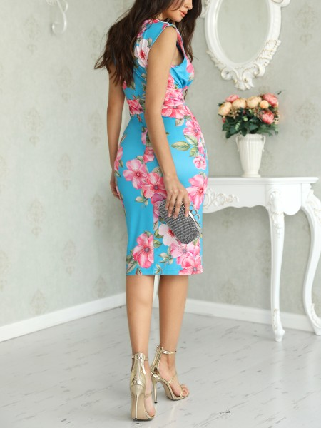 Floral Print V Neck Wrap Midi Dress
