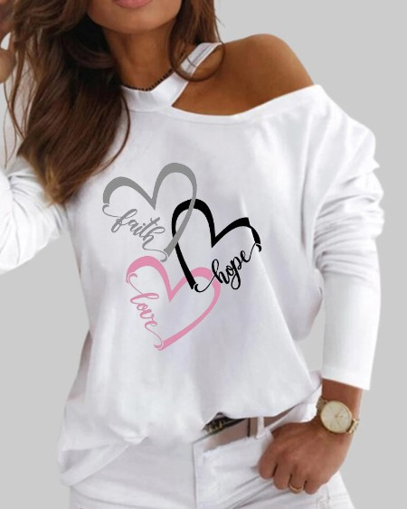 One Shoulder Heart Letter Print Top