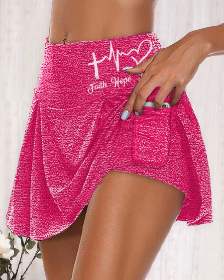 Butt Lifting Letter Heart Print  Pocket Design Layered Skorts