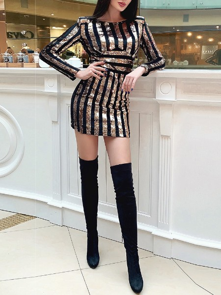 Long Sleeve Striped Sequin Party Dress