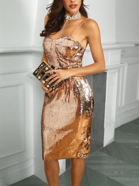 Spaghetti Strap Sequin Party Dress
