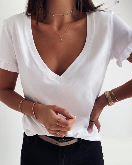 Ruffles Trim Short Sleeve Casual T-shirt