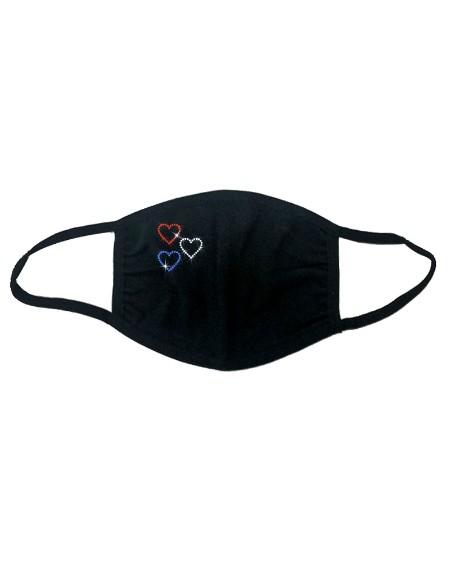Ribbon / Heart / Floral / Letter Cross Pattern Bling Rhinestone Face Mask