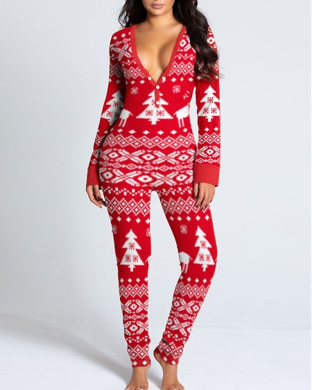 Christmas Print Functional Buttoned Flap Adults Pajamas