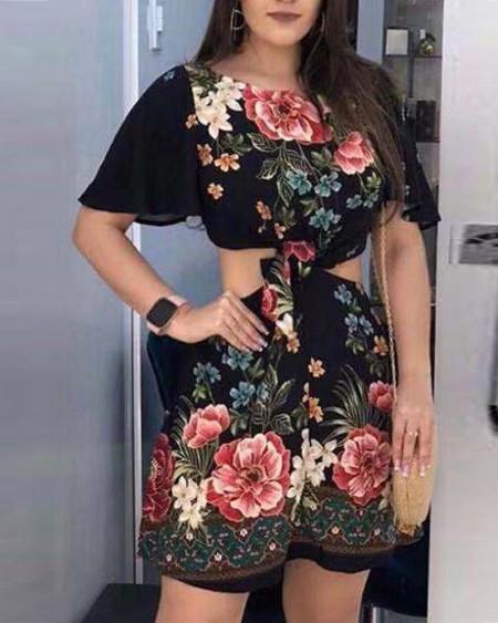 Floral Floral Print Cutout Waist Dress
