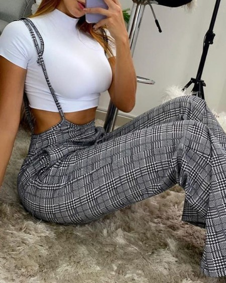 Plaid Pocket Design Suspender Bootcut Pants