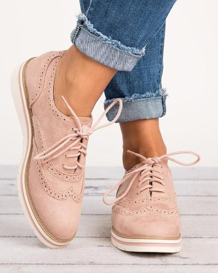 Plain Lace-Up Oxford Shoes