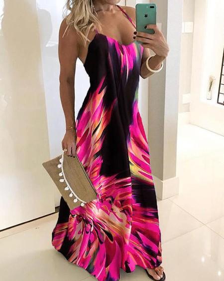 boutiquefeel / Spaghetti Strap Colorful Print Maxi Dress