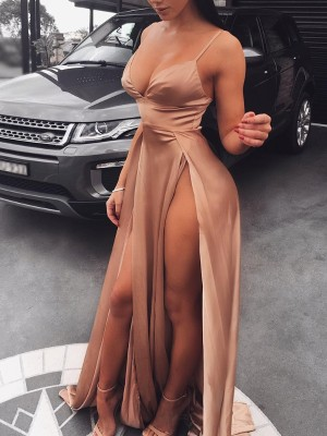 High Slit Spaghetti Strap Maxi Party Dress