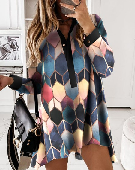 Colorblock Geometric Print Long Sleeve Dress