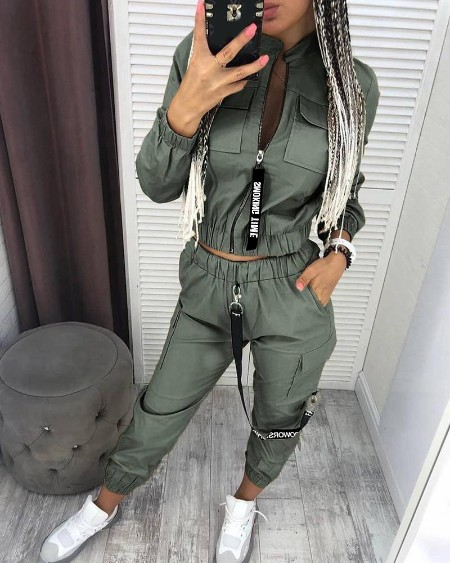 Pockets Zipper Design Ruched Coat & Cargo Pants Set