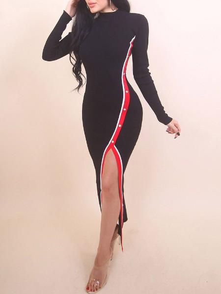 Stripes Tape Button Slit Side Bodycon Dress