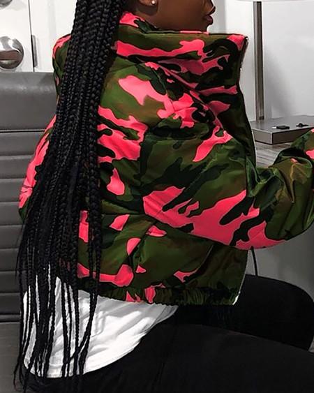 Camouflage Print Zipper Design Padded Coat