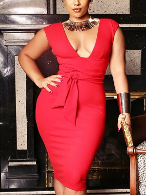Solid Deep V-Neck Tie Waist Bodycon Dress