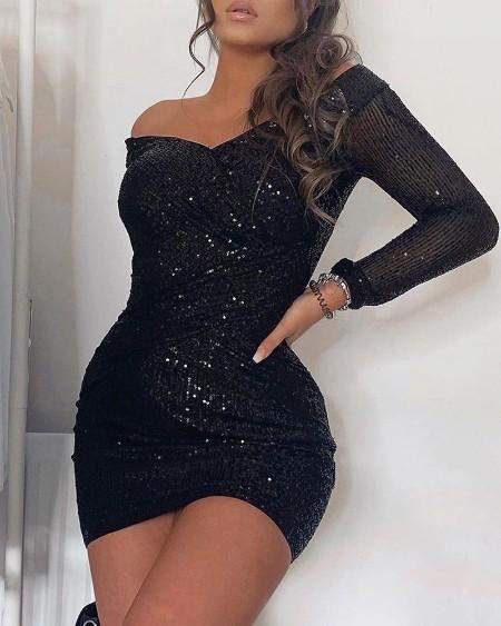 Off Shoulder Wrap Sequins Dress