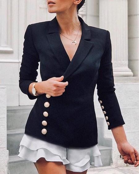 Buttoned Ruffles Hem Blazer Dress