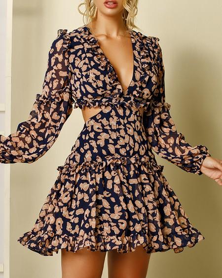 Cheetah Pattern Print Lace-up Backless Dress