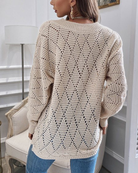 Hollow Out Batwing Sleeve Casual Sweater