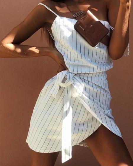 Striped Tie Waist Cami Mini Dress