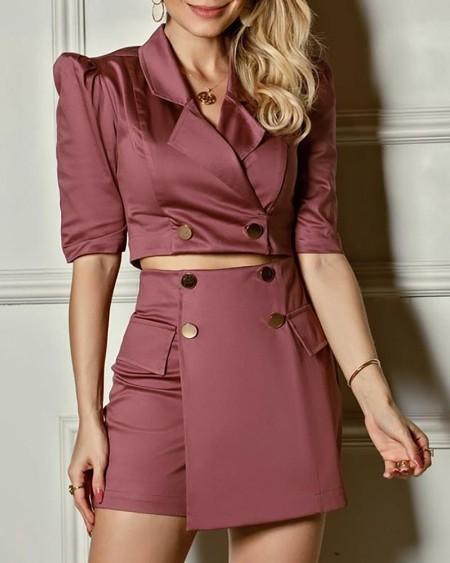 Solid Buttoned Crop Blazer Top & Mini Skirt Sets