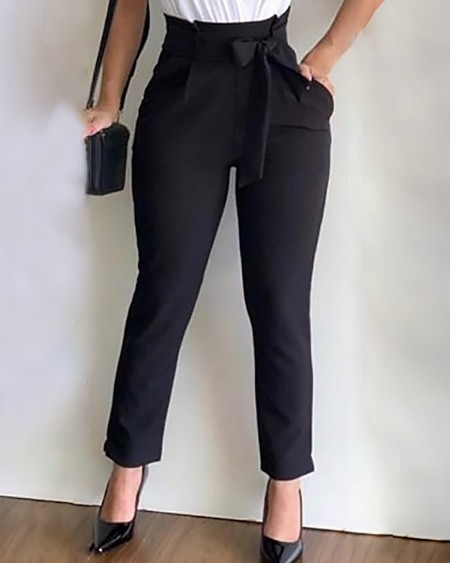 boutiquefeel / High Waist Paperbag Waist Casual Pants