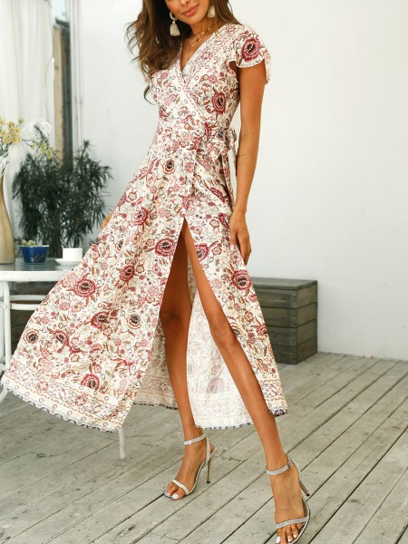 Knot Waist Floral Print Slit Dress