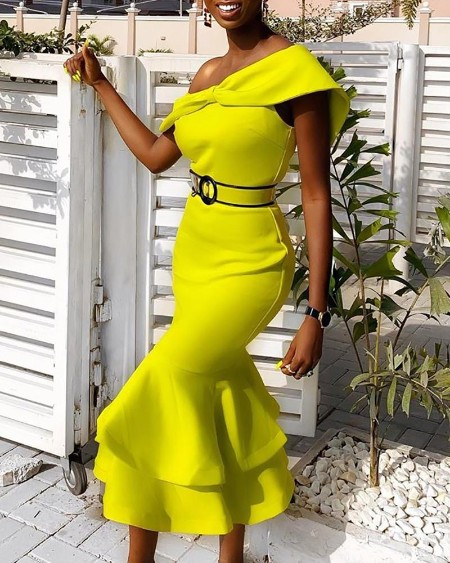 Solid Off Shoulder Ruffles Bodycon Dress