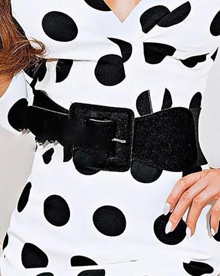 V-Neck Dots Print Bodycon Dress