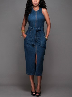 boutiquefeel / Zipper Split Belted Denim Bodycon Dress