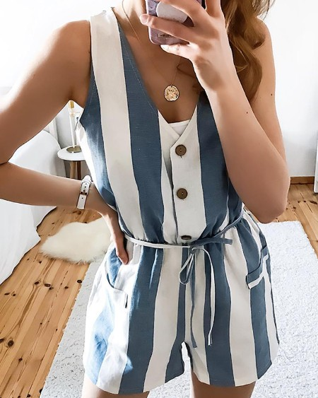 Sleeveless Striped Buttoned Design Romper