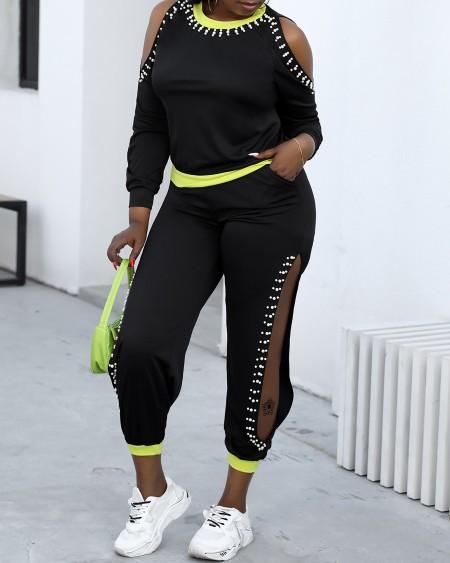 Plus Size Cold Shoulder Studded Top & Cutout Pants Set